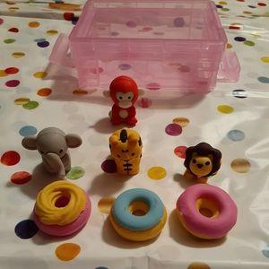 Cute Mini Donut & Animal Erasers (7 Total)